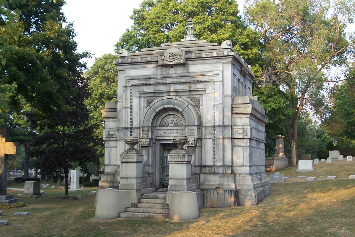 Ornate mausoleum of prominent brewer Valentin Blatz.  The baroque structure has several imperial design features and is from the late 1800s. [1]