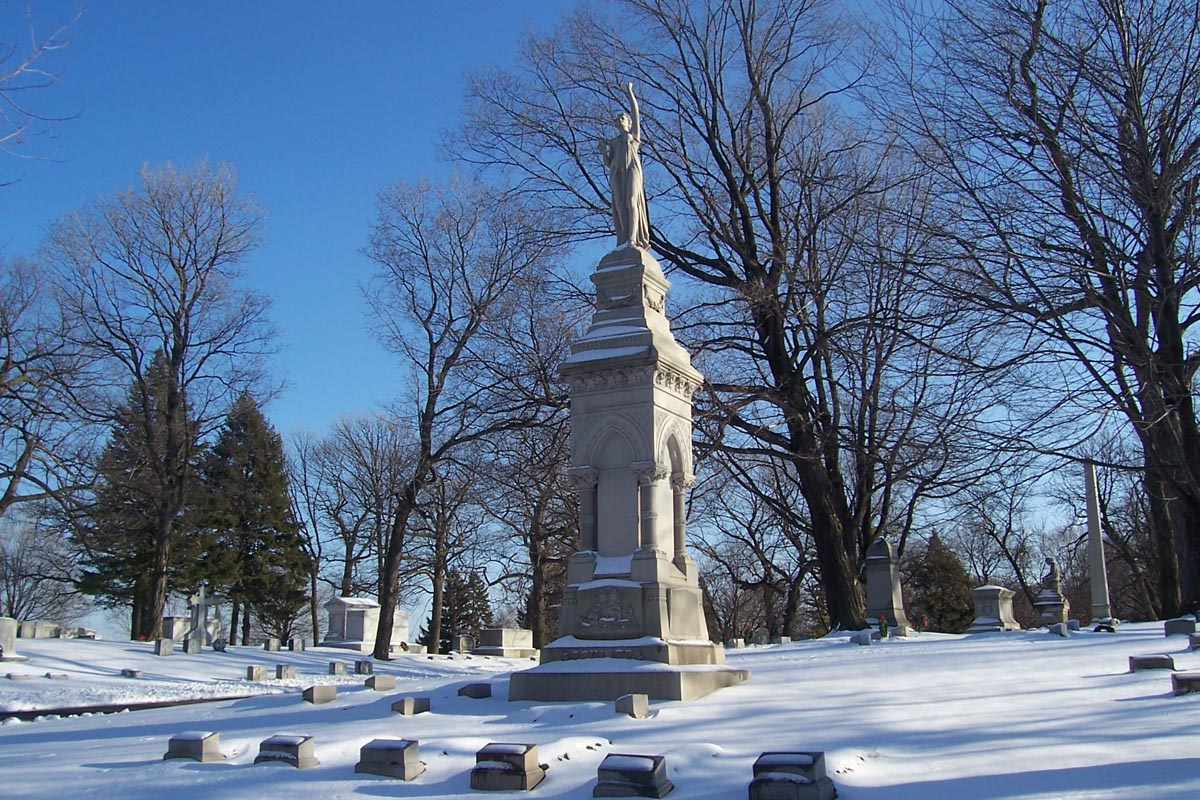 Large funeral markers, like Joseph Schiltz's towering obelisk, were meant to reflect the prestige and wealth of their patrons. Like the other major brewing families, this marker is from the late 1800s. [1]