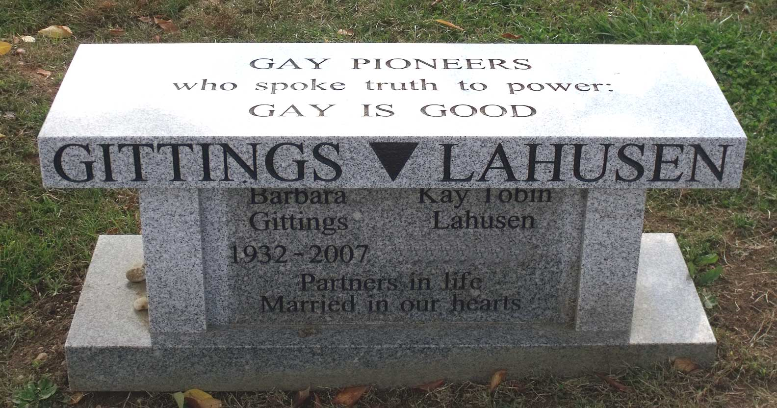 Barbara Gittings' grave marker, courtesy of John Shuck on Find A Grave (reproduced under Fair Use)