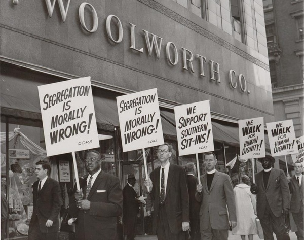Protesters outside of Woolworths