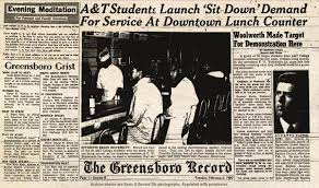 Newspaper clipping about the Greensboro Sit-In and the A&T Four