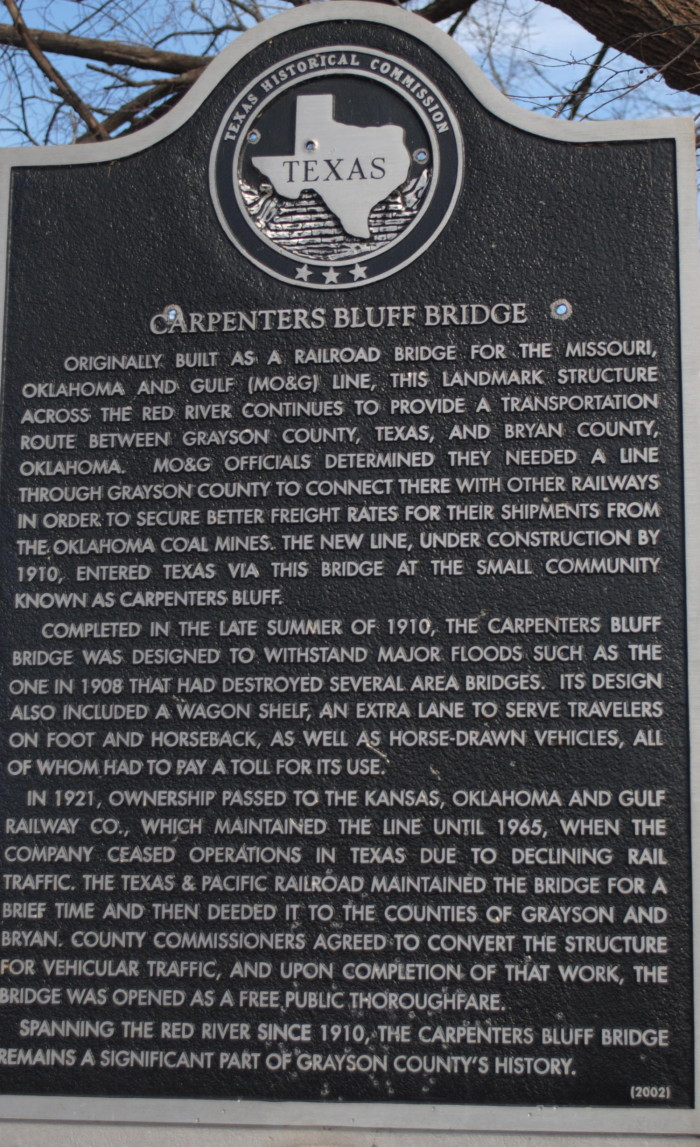 This Texas Historical commisions marker provides details of the bridge and can be found at the site.