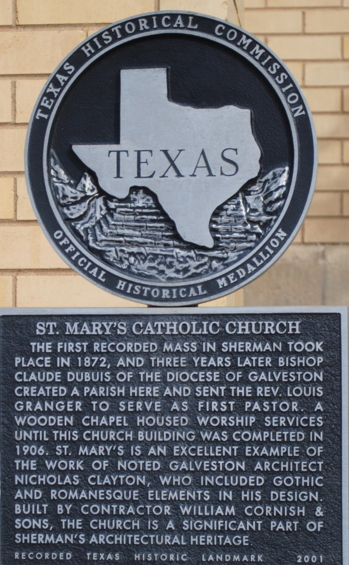 Texas Historical Commission Marker of St. Mary's Catholic Church