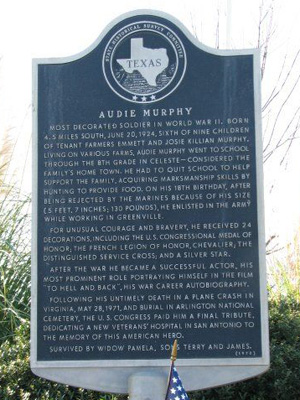 Audie Murphy Historical Marker off highway 69 in Celeste Texas in the limits of Hunt County. Explaining Murphy's early years spent in Celeste, TX (1973).