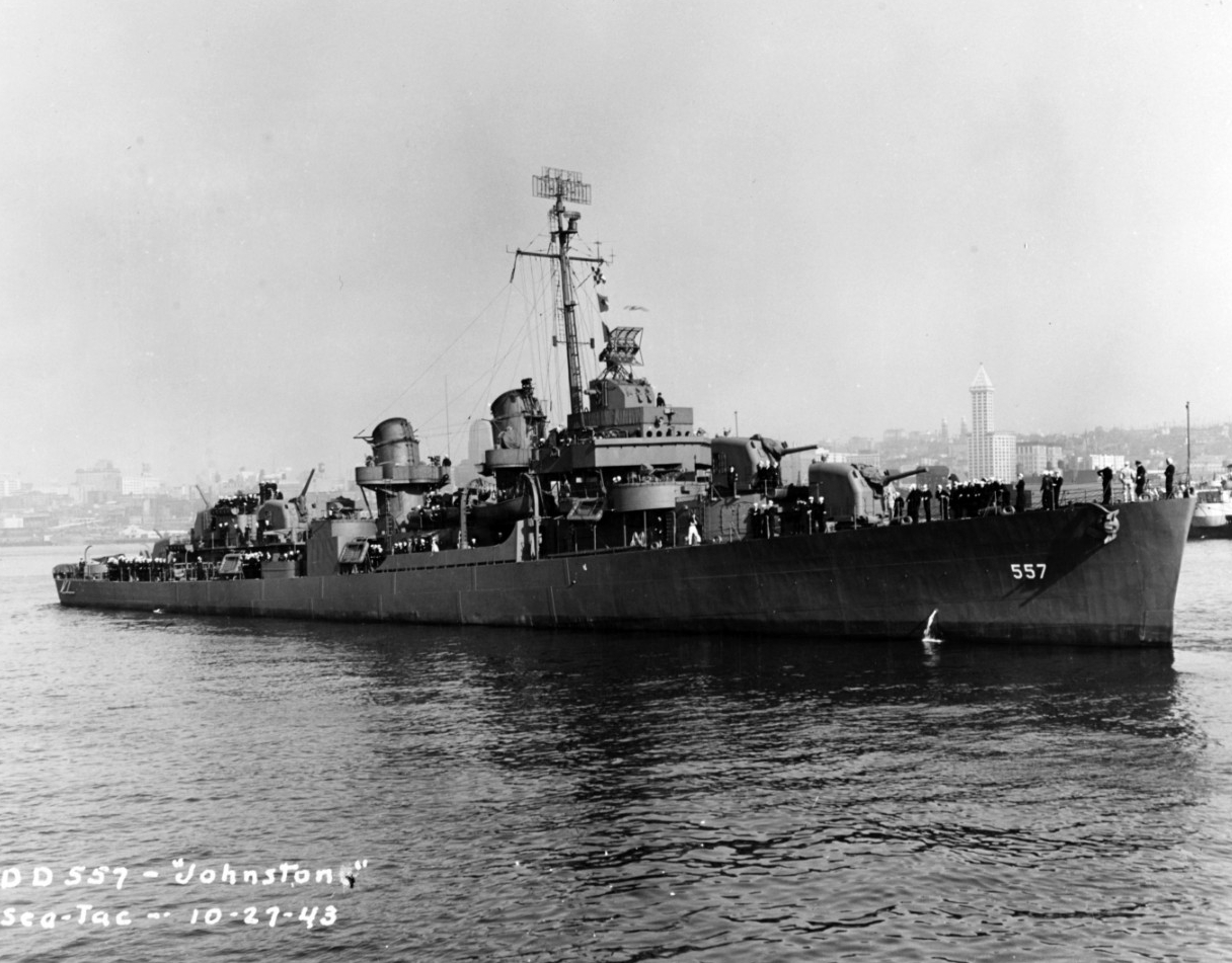 Commanded by Cherokee Native American Ernest Evens, USS Johnston in 1943.
