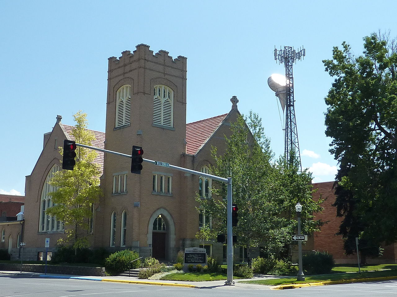 First Presbyterian Church was built in 1910 and is a fine example of Gothic Revival architecture.