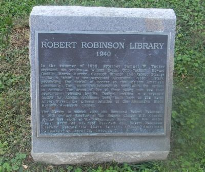 "Landmark for the Robert Robinson Library. The library was built as a result of the alleged first American ""sit-in""."