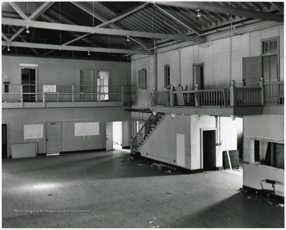 Interior of the second University Armory, where cadets conducted indoor drill.