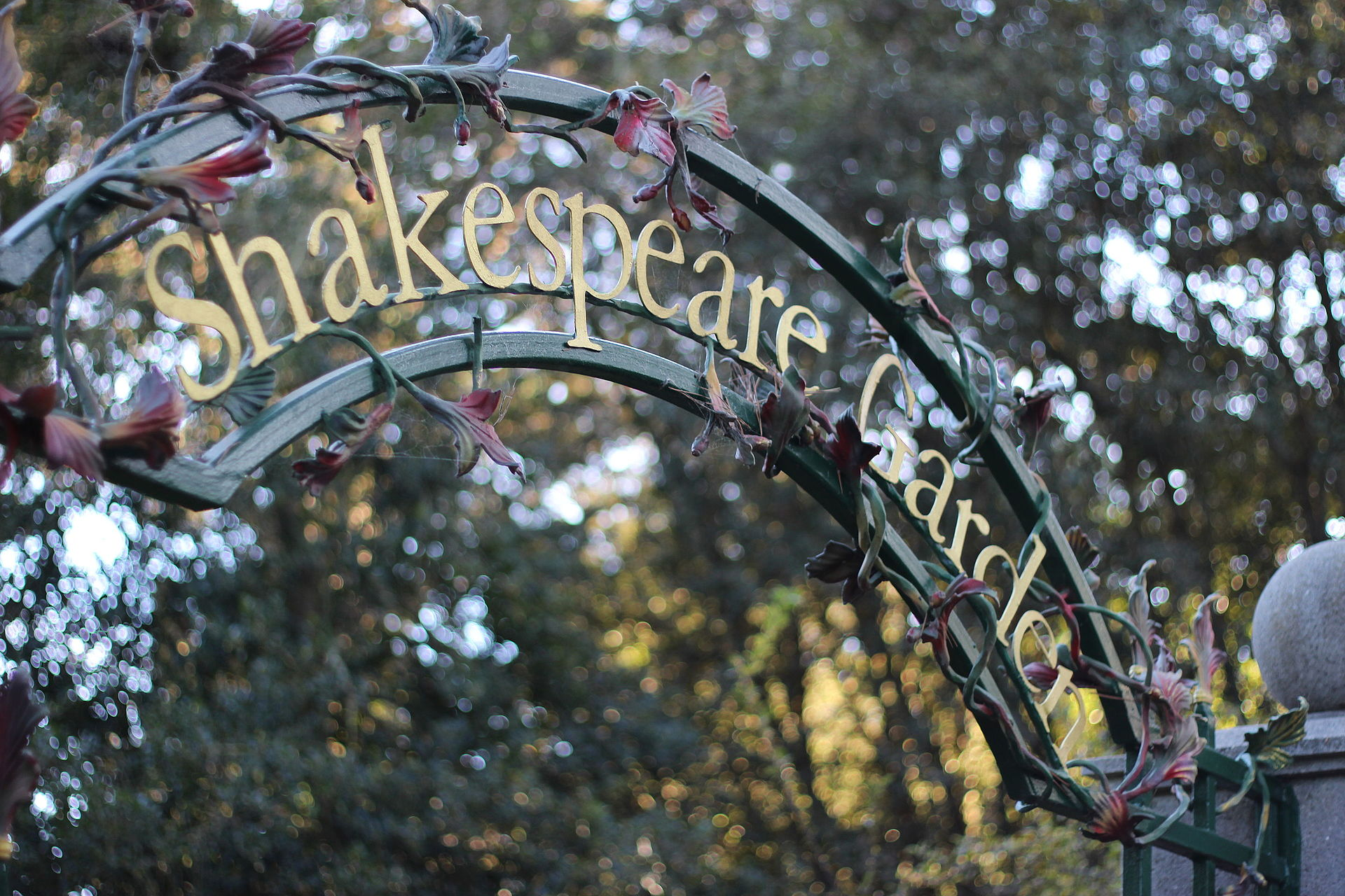 Signage about entry gate to the Shakespeare Garden, Golden Gate Park