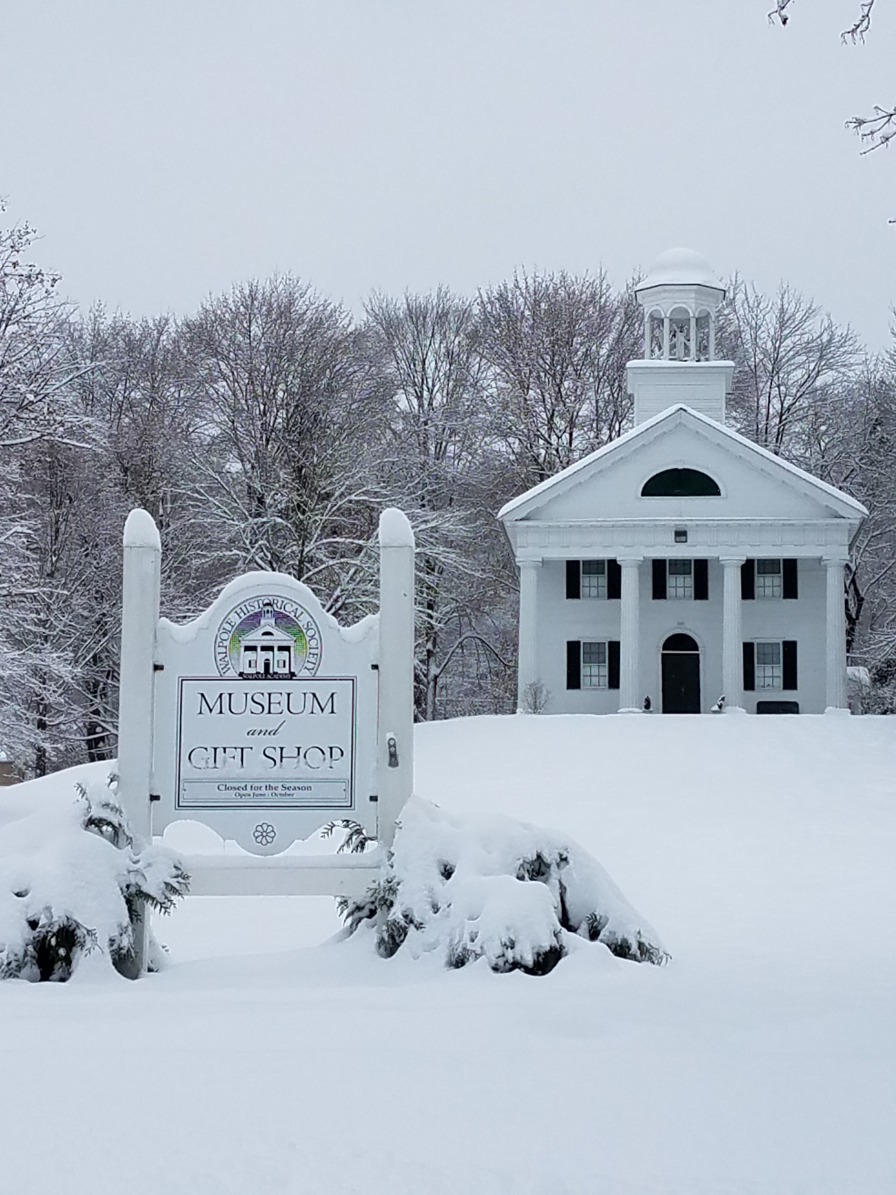 The Walpole Heritage Museum under a blanket of New Hampshire snow.
