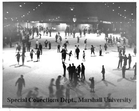 Ice skating at the Memorial Field House, 1954
