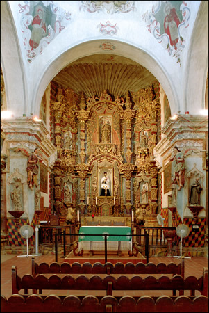 Looking at the pulpit inside San Xavier del Bac Mission