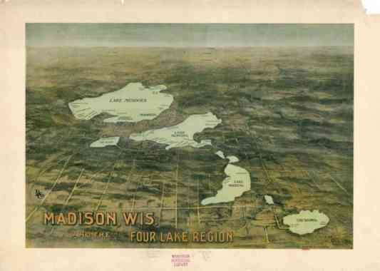 1909 map of Wisconsin depicting the Four Lakes Region.