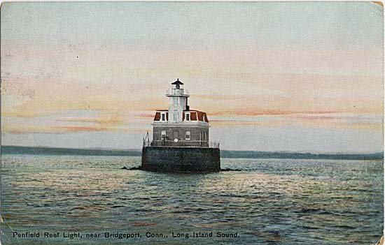 A drawing of Penfield Reef Lighthouse from 1914. Note the artist's depiction of the sea; Penfield Reef was notorious at the time for being home to violent waters and deadly storms.