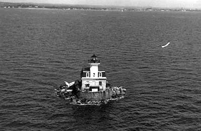 The lighthouse shortly after the completion of renovations in 2014. Penfield Reef saw extreme damage resulting from Hurricane Sandy in 2012, which necessitated repairs costing an estimated $1 million dollars.