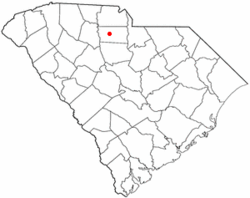 The red dot shows where Lewis Inn is located in South Carolina.