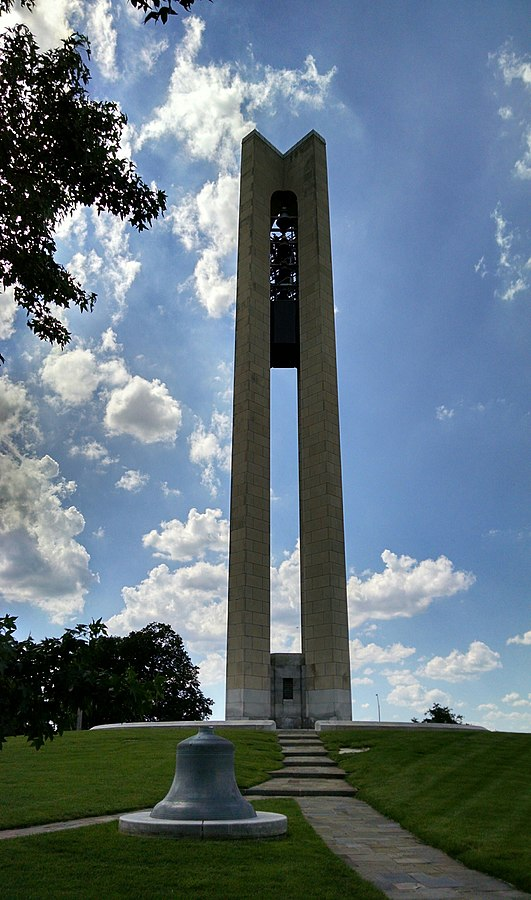 The 151-foot tall Deeds Carillon was dedicated on Easter Day in 1942.