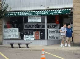 A picture of the front of the Mothman Museum and gift shop, located in Point Pleasant, West Virginia.