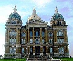 The Iowa State Capitol was built in 1886 and is listed on the National Register of Historic Places.