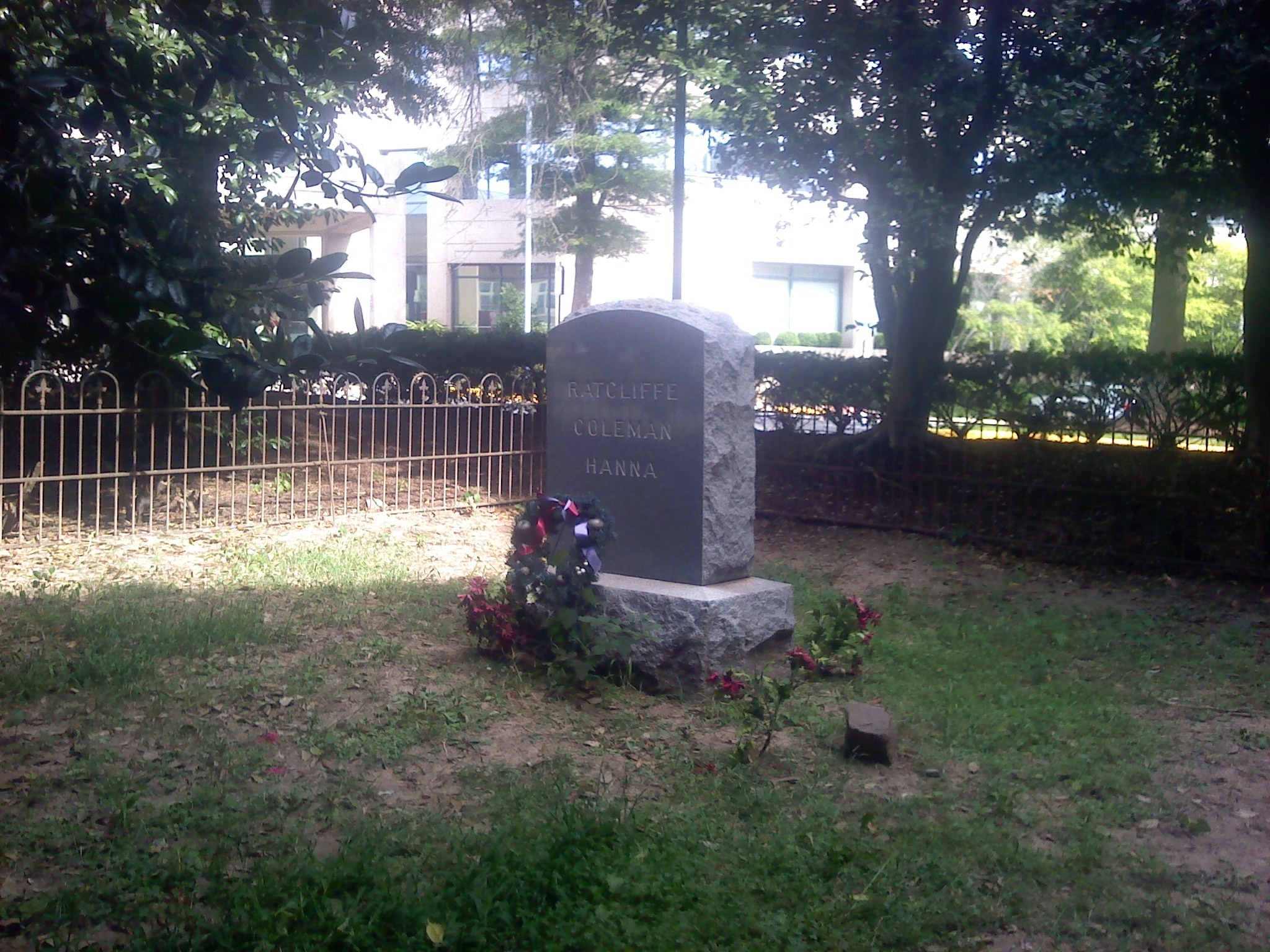 The Ratcliffe/Coleman/Hanna cemetery, where Laura Ratcliffe and her husband are buried - located in a grove of trees directly in front of the Washington Dulles Marriott Suites
