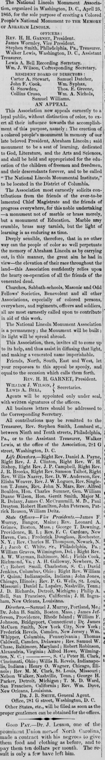 Henry Highland Garnet announces the campaign to build a monument to Lincoln, The Elevator, August 11, 1865.