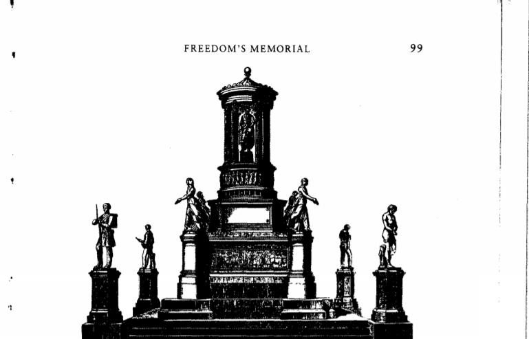Sculptor Harriet Hosmer's design was based on the intent of African American donors. It placed Lincoln at the center surrounded by African Americans who challenged slavery.