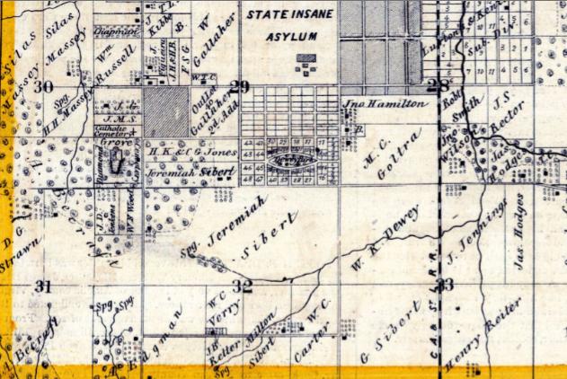 W.C. Verry's farm was two farms east of  Ebenezer Carter's farm.T15N-R10w, sec.32