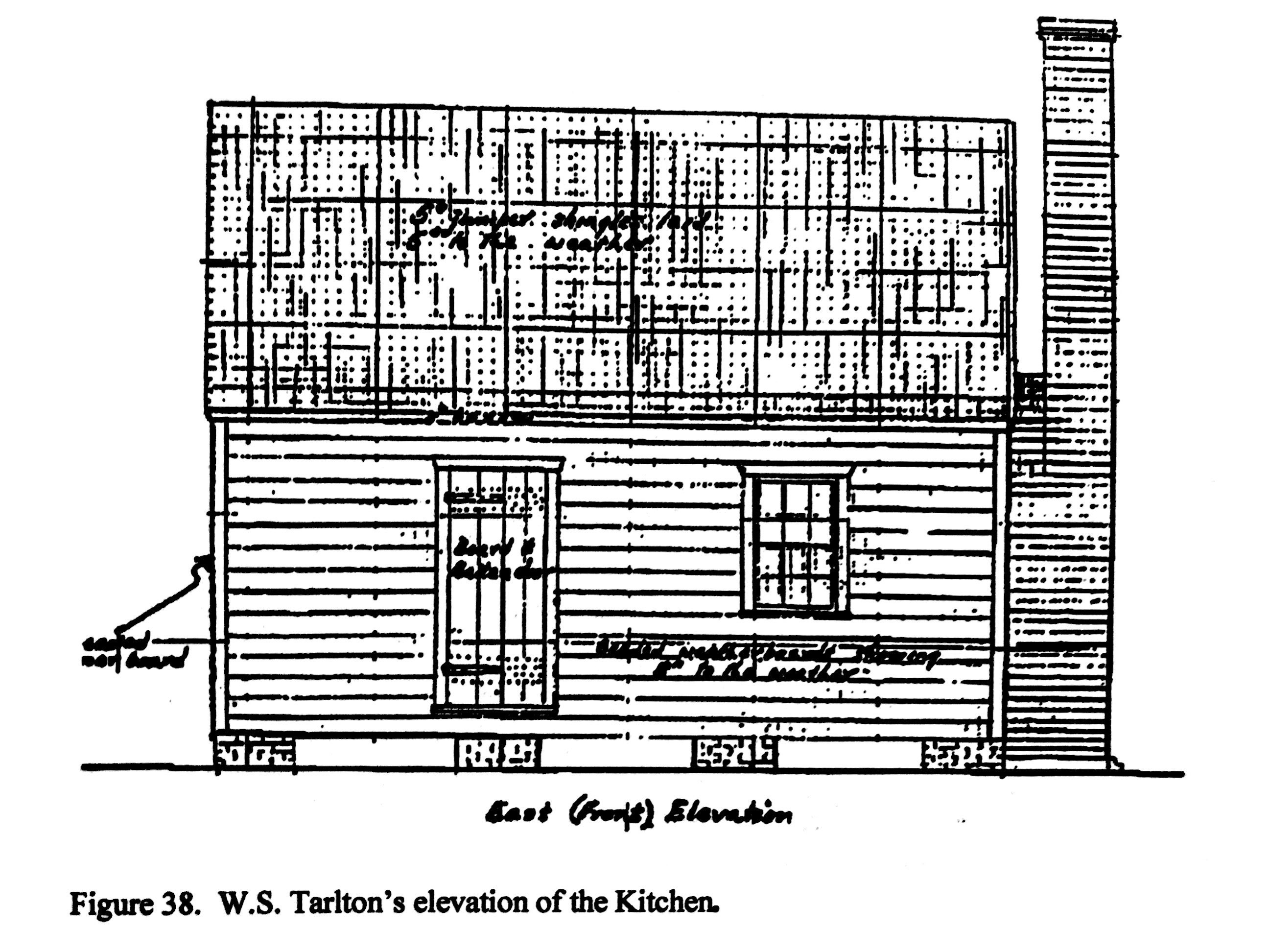 Elevation drawing of the Enslaved Kitchen