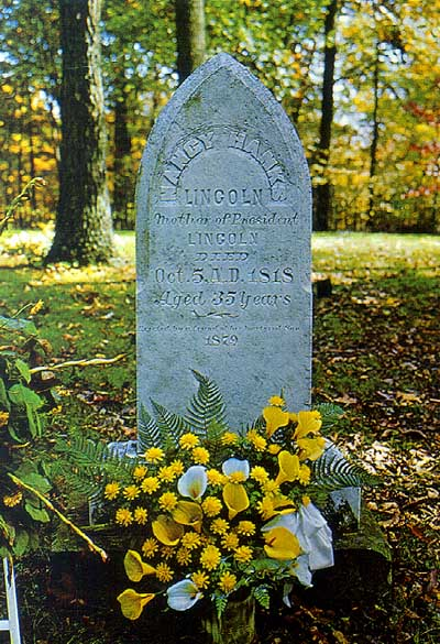Gravesite of Nancy Hanks at the Lincoln National Boyhood Home in Indiana. Her birth date is not given, reflecting the scant evidence about it. Image obtained from the National Park Service, Wikipedia.