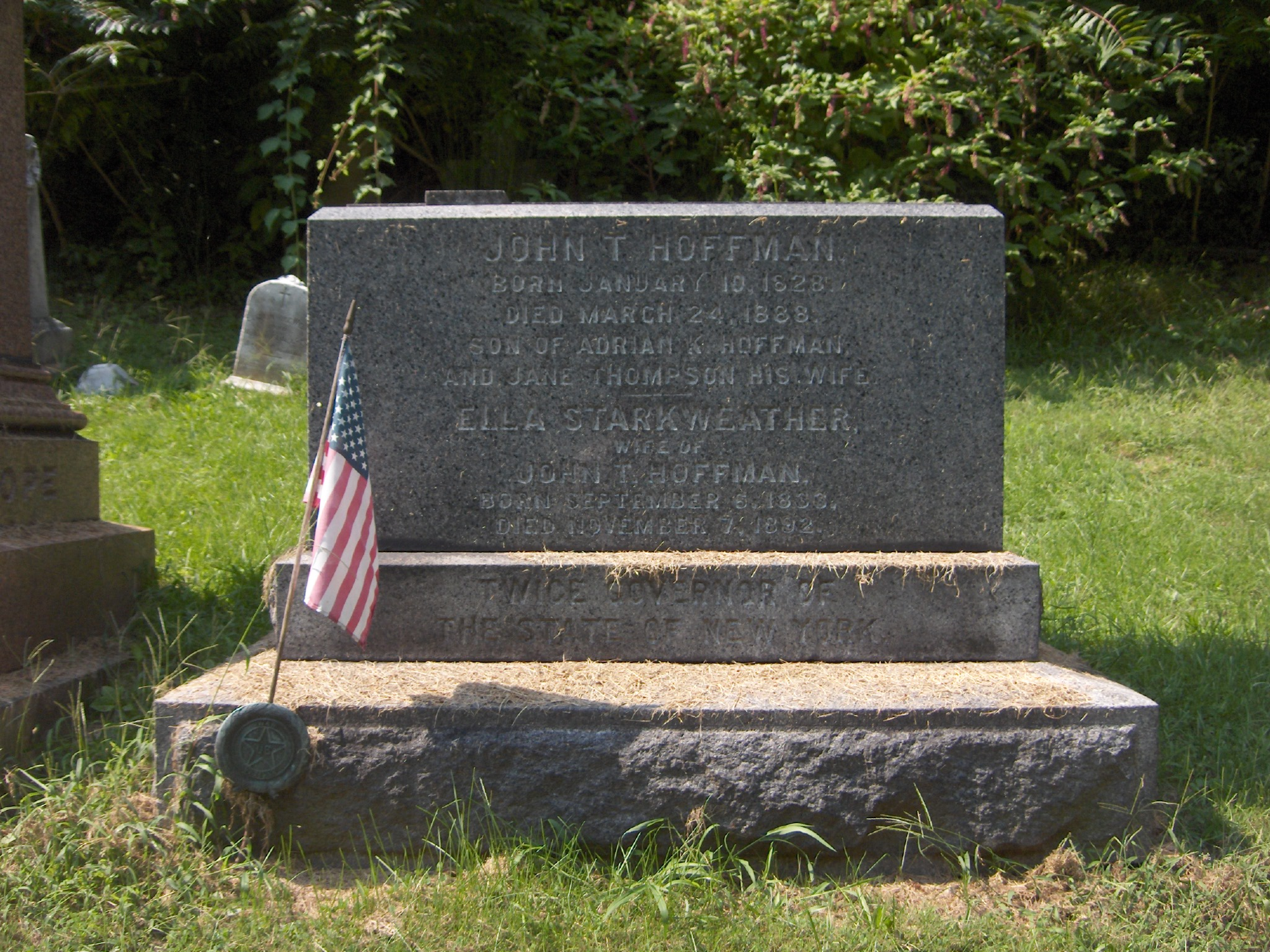 "The monument at the grave of John T. Hoffman notes that he was ""twice governor of the State of New York."""