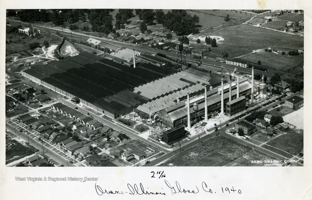 Aerial view of the factory, 1940