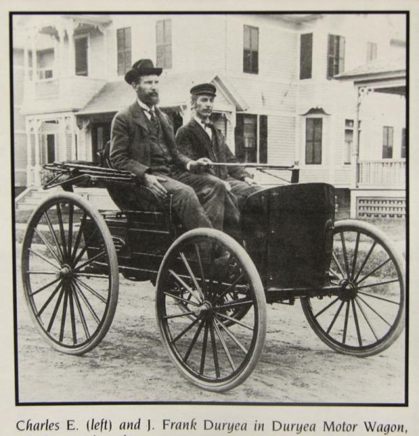 The Duryea brothers in a Duryea Motor Wagon