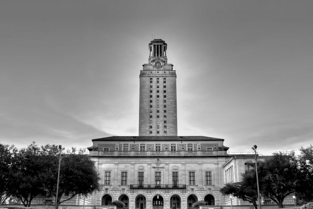 This is a view of the Texas bell tower from the front. The shooter was up on the observation deck shooting down below.