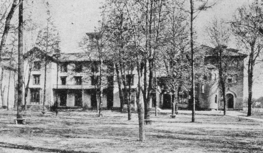 Irving Female College in the early twentieth century. Irving Hall is on the left and Columbian Hall is on the right.