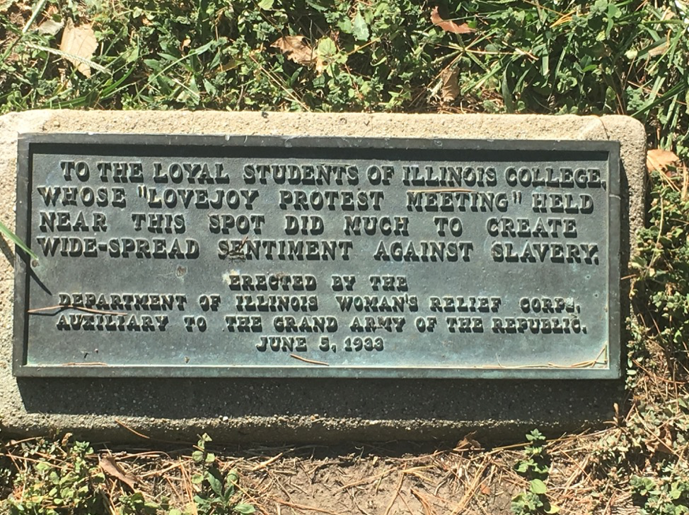 The Elijah Lovejoy Memorial is located on the Illinois College campus.