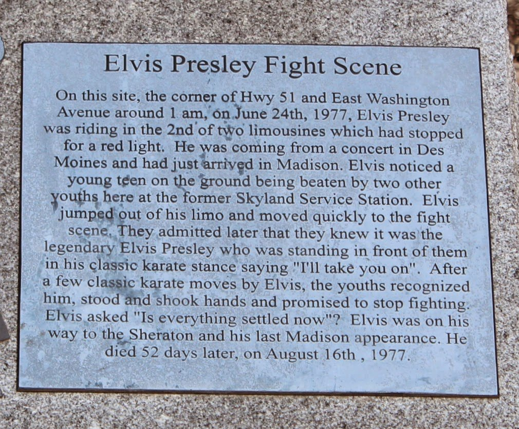 This is the information that is written on the Elvis Presley Fight Scene Marker.