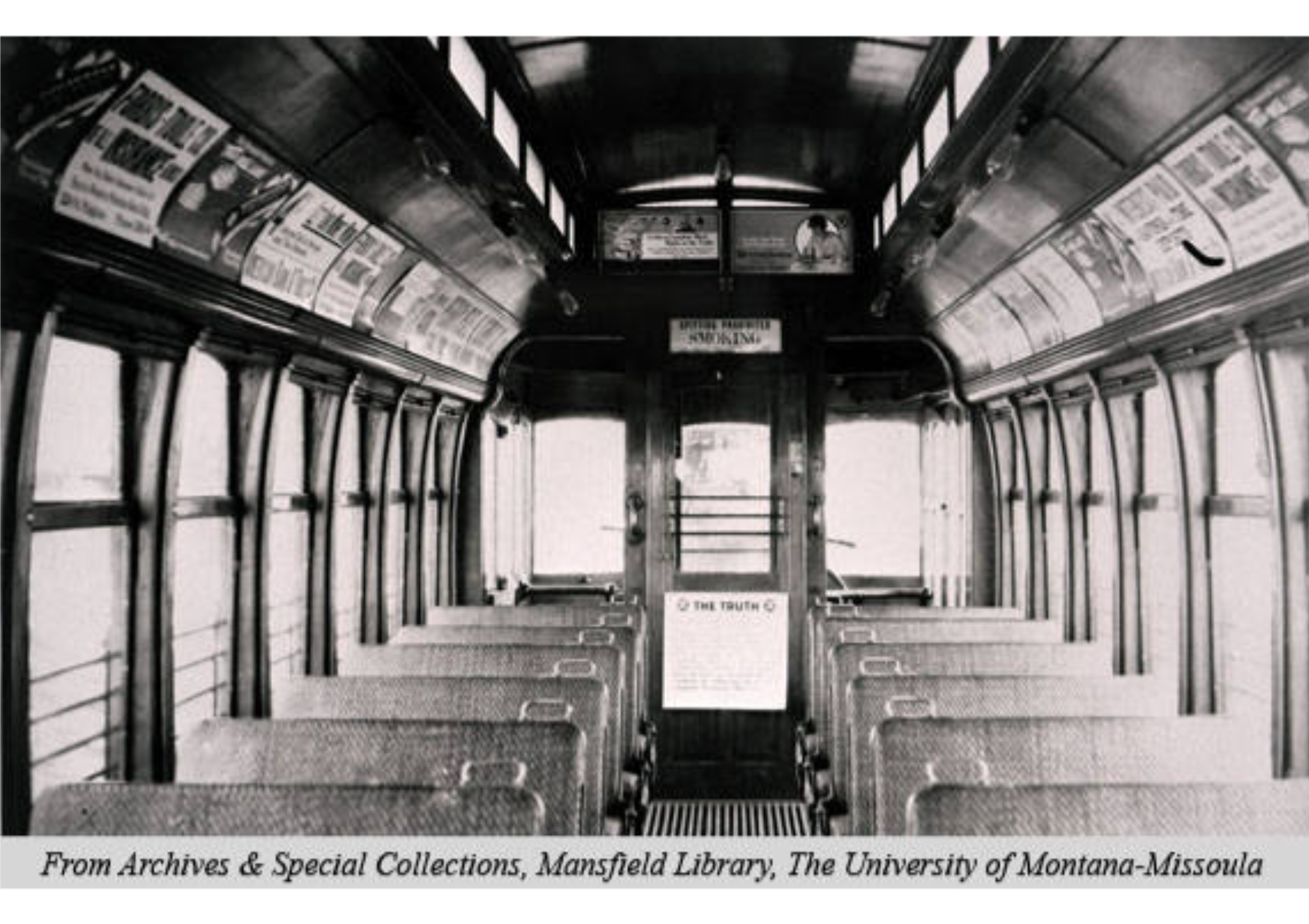 1920 photo of the interior of one of Missoula's famous single-person operated streetcars