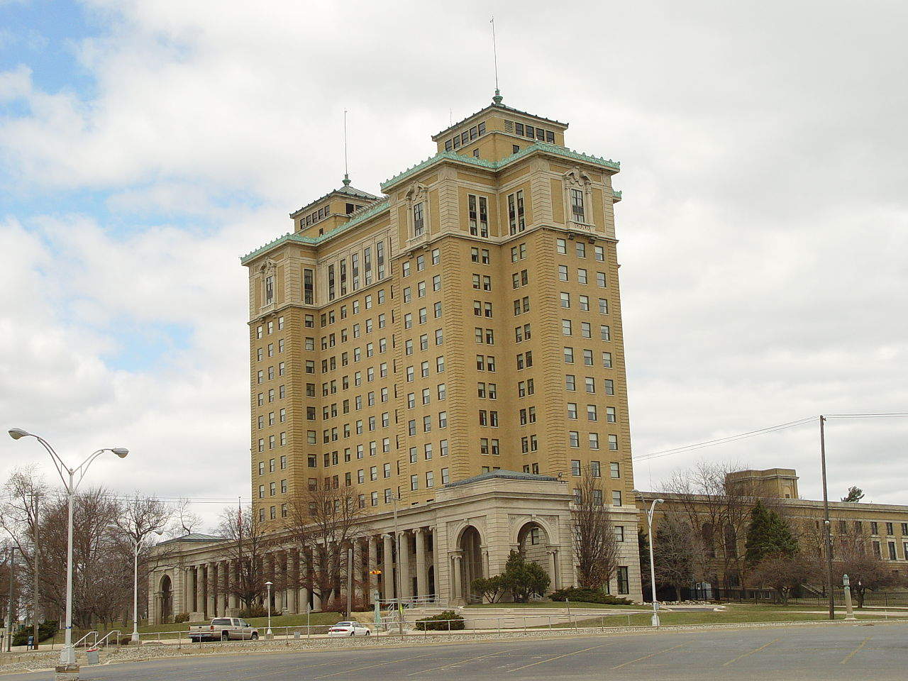 The Hart-Dole-Inouye Federal Center was built in 1928 and was originally the main building of the Battle Creek Sanitarium Complex.