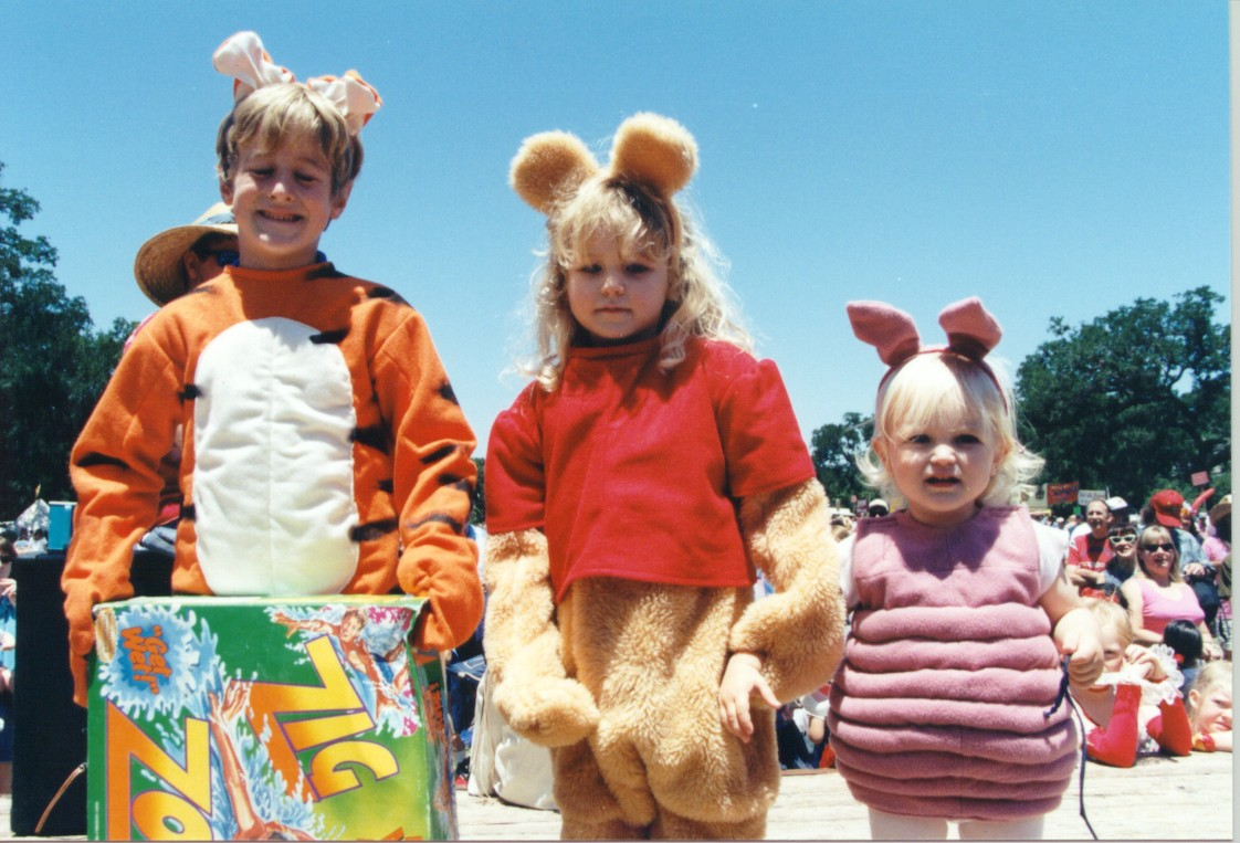 The Amann family dressed up for Eeyore in his 1997 birthday party