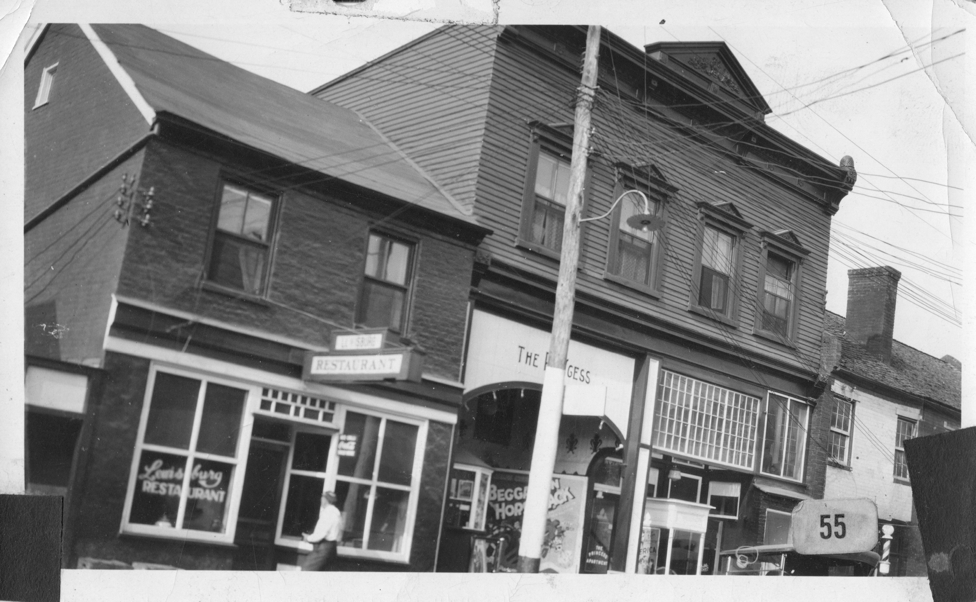 Princess Theatre and Lewisburg Restaurant. Photo courtesy of Greenbrier Historical Society.