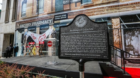 This historical marker was dedicated in 2016 at the request of the Coca-Cola company.