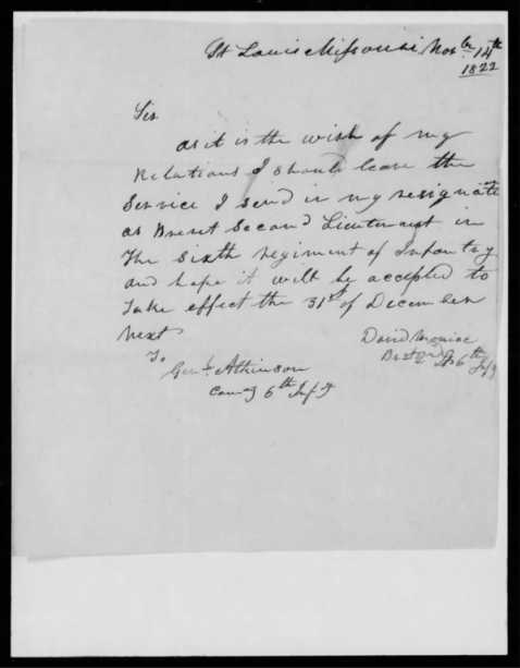 US Army Resignation Letter from David Moniac, 1822