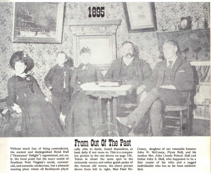 Description of Hull Hotel from Harlow Warren's book. Pictured in center of photograph is John S. Hull and his wife, Annie.