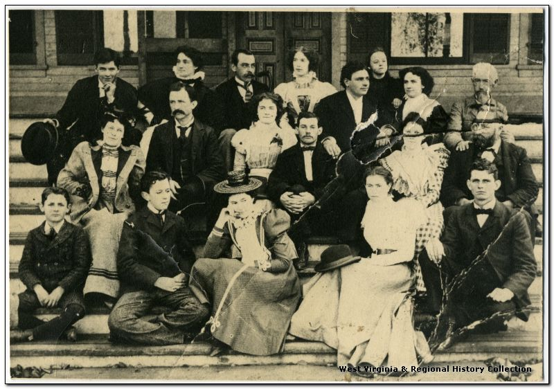 Group picture on the steps of Hull Hotel, circa 1890s to early 1900s.