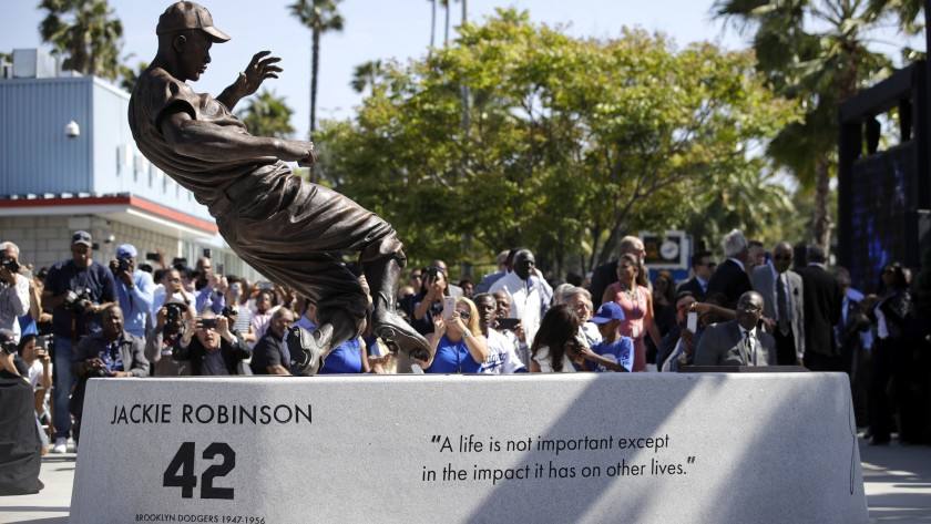 Jackie Robinson statue outside Dodger Stadium