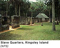 "Slave Quarters. Cotton was the man crop of the plantation but other crops such as rice were also grown. Kingsley implemented a ""task system"" to distribute work among the slaves."