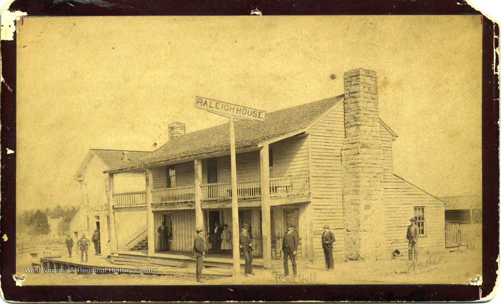 Raleigh House, circa 1880s. John S. Hull is in the center of the photograph.