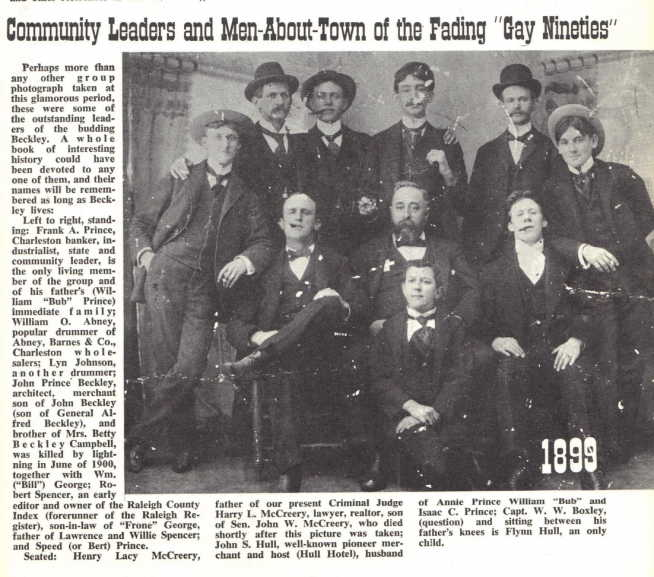 Noted business leaders in Beckley during the 1890s. John S. Hull pictured in center of the photograph.