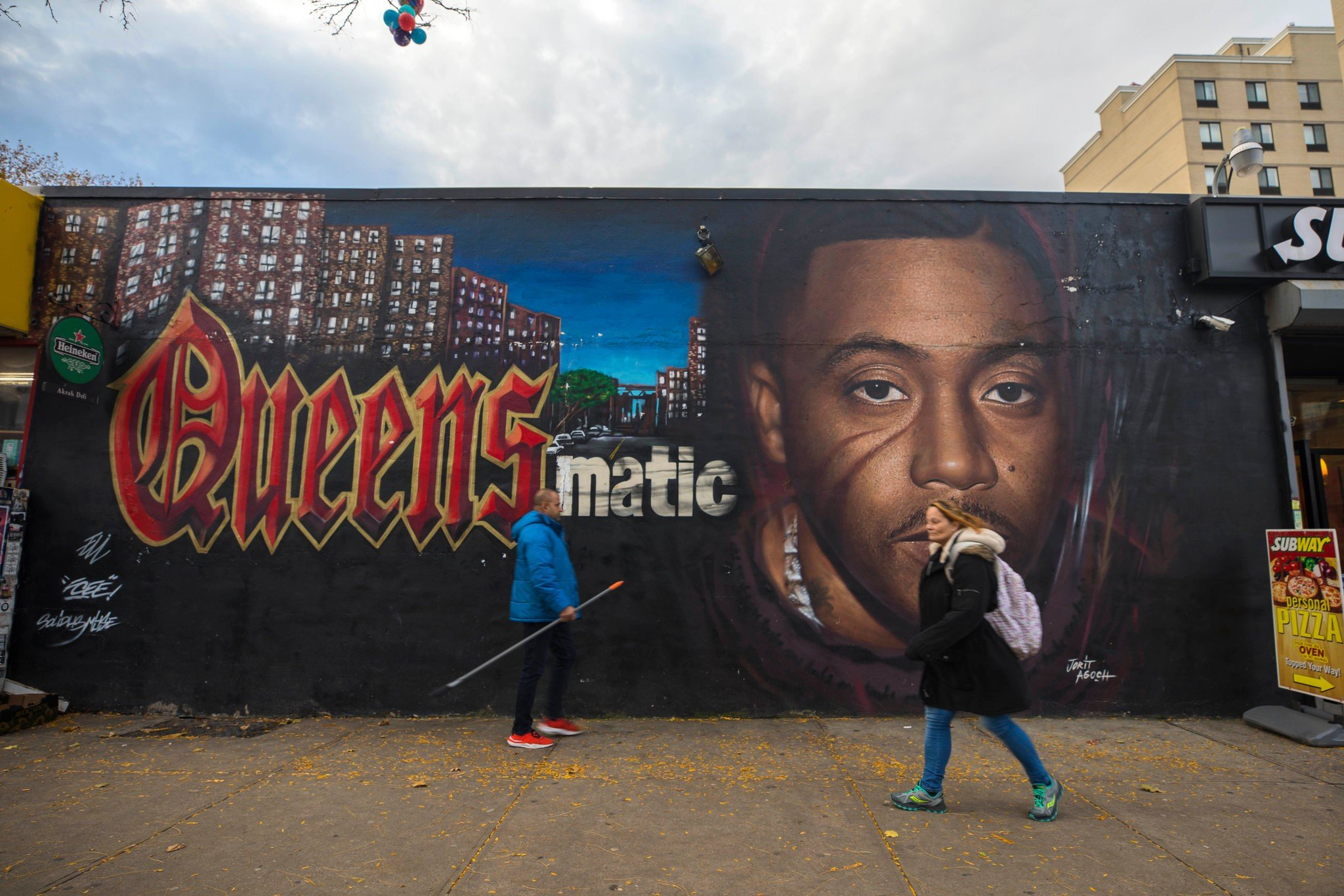 A mural showing Nas with his iconic Queensbridge roots
