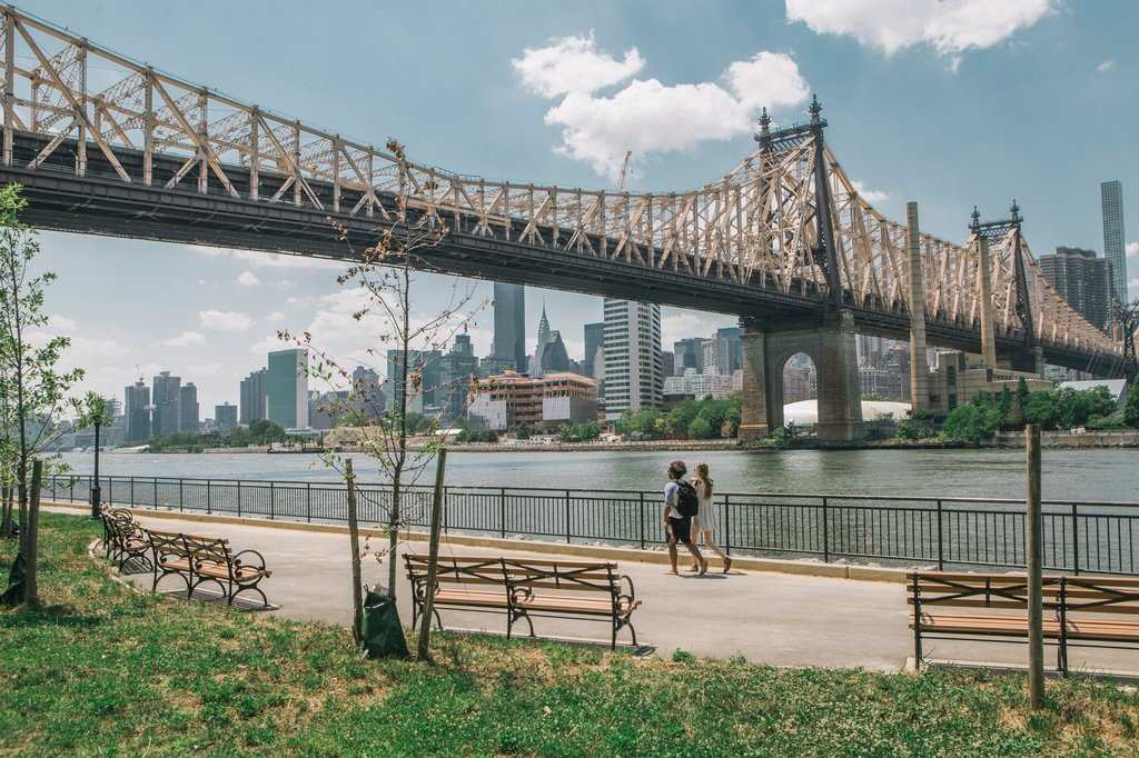 The revamped river-walk and Queensbridge park named in honor of longtime resident and activist Elizabeth McQueen
